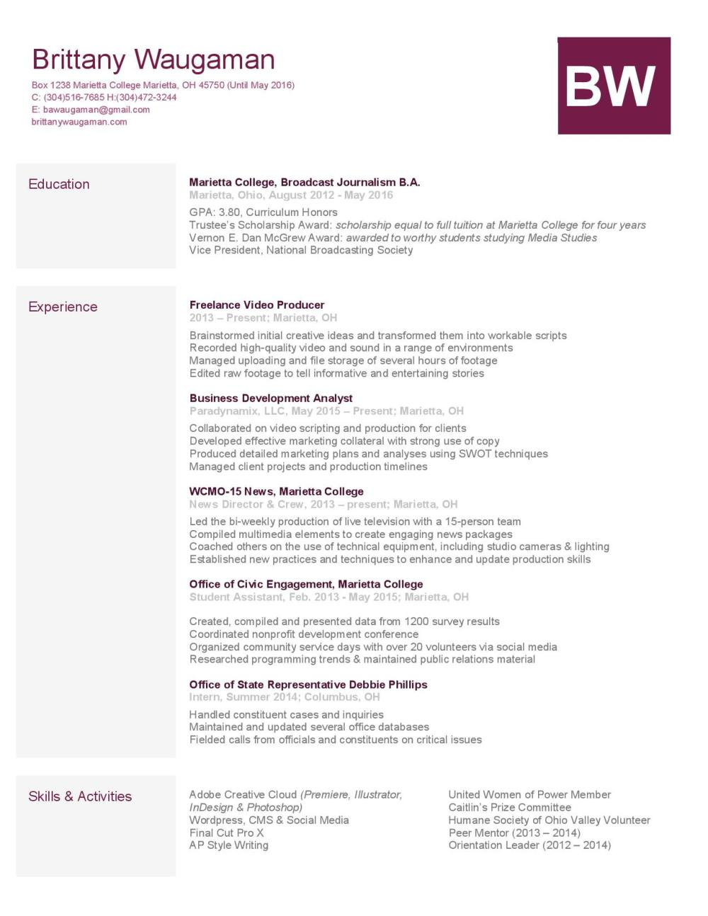 résumé   brittany waugamanwaugaman resume  references available upon request